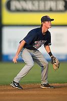 Shortstop James Beresford (4) of the Elizabethton Twins on defense at Dan Daniels Park in Danville, VA, Saturday, August 23, 2008. (Photo by Brian Westerholt / Four Seam Images)