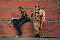 Sadhu and Journalist Durbar Square Area Kathmandu Nepal