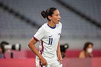 TOKYO, JAPAN - JULY 21: Christen Press #11 of the United States during a game between Sweden and USWNT at Tokyo Stadium on July 21, 2021 in Tokyo, Japan.