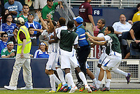 Honduras players celebrate what turned out to be the game winning goal in extra time... Honduras defeated El Salvador 3-2 after extra time to go through to the final at LIVESTRONG Sporting Park, Kansas City, Kansas.