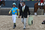 April 11, 2015: Co-trainer Jimmy Barnes and jockey Victor Espinoza after the Arkansas Derby at Oaklawn Park in Hot Springs, AR. Justin Manning/ESW/CSM