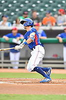 Tennessee Smokies shortstop Zack Short (4) swings at a pitch during a game against the Pensacola Blue Wahoos at Smokies Stadium on August 30, 2018 in Kodak, Tennessee. The Blue Wahoos defeated the Smokies 5-1. (Tony Farlow/Four Seam Images)