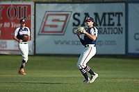 High Point-Thomasville HiToms right fielder Will Schroeder (18) (UNC) catches a fly ball during the game against the Deep River Muddogs at Finch Field on June 27, 2020 in Thomasville, NC.  The HiToms defeated the Muddogs 11-2. (Brian Westerholt/Four Seam Images)