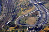 Most, Czech Republic. Aerial view of transport systems; roads and railways.