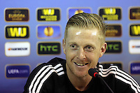 Wednesday 26 February 2014<br /> Pictured: Manager Garry Monk at the press conference.<br /> Re: Swansea City FC press conference and training at San Paolo in Naples Italy for their UEFA Europa League game against Napoli.