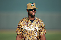 Leody Taveras (3) of the Down East Wood Ducks warms up in the outfield prior to the game against the Winston-Salem Dash at BB&T Ballpark on May 12, 2018 in Winston-Salem, North Carolina. The Wood Ducks defeated the Dash 7-5. (Brian Westerholt/Four Seam Images)