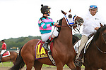 07 09 2009: Chamberlain Bridge with Johnny Velazquez up win the eighth running of the $250,000 Turf Monster Handicap at Philadelphia ark, Bensalem, Pennsylvania