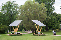 Temporary solar panels set up in public places for people to charge their mobile phones. <br /> <br /> <br />  © Fredrik Naumann/Felix Features