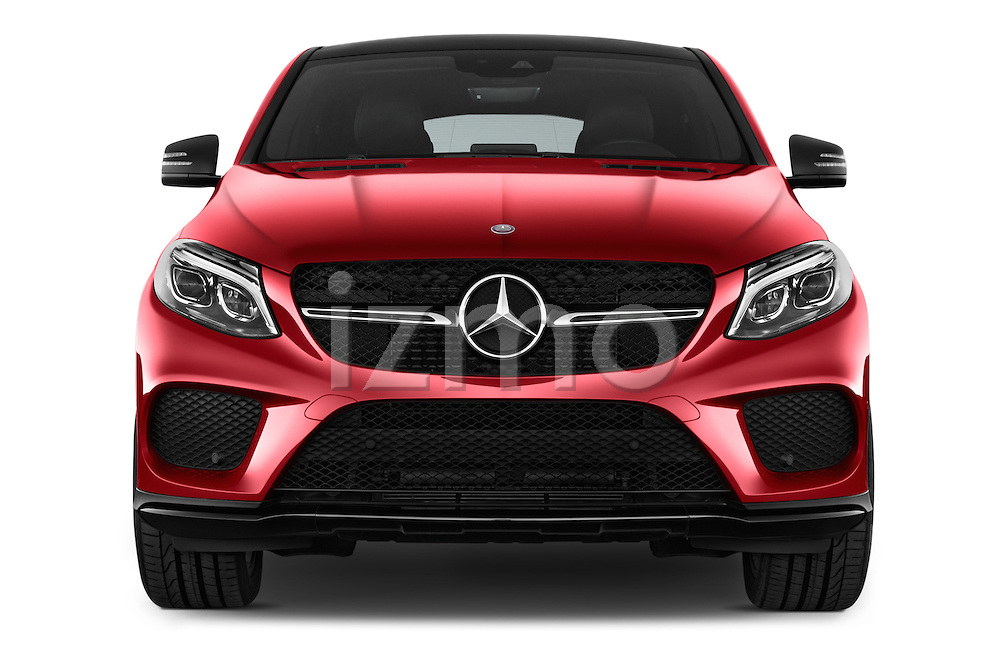 Car photography straight front view of a 2016 Mercedes Benz GLE-Coupe - 5 Door Suv Front View