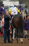 DEL MAR, CA - NOVEMBER 03: Trainer Dallas Stewart greets John Velazquez, aboard Forever Unbridled #6 after winning the the Longines Breeders\'92 Cup Distaff on Day 1 of the 2017 Breeders' Cup World Championships at Del Mar Thoroughbred Club on November 3, 2017 in Del Mar, California. (Photo by Michael McInally/Eclipse Sportswire/Breeders Cup)