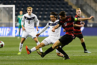 Chester, PA - Friday December 08, 2017: Manuel Cordeiro, Drew Skundrich The Stanford Cardinal defeated the Akron Zips 2-0 during an NCAA Men's College Cup semifinal match at Talen Energy Stadium.