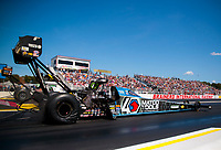 Aug 17, 2019; Brainerd, MN, USA; NHRA top fuel driver Antron Brown during qualifying for the Lucas Oil Nationals at Brainerd International Raceway. Mandatory Credit: Mark J. Rebilas-USA TODAY Sports