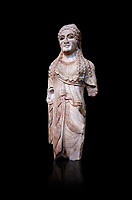 Ancient Greek Archaic statuette of a  kore, found in the Acropolis Athens, 500-490 BC, Athens National Archaeological Museum. Cat no BE 15/2009. Against black<br /> <br /> <br /> The kore statues hair is adorned with a wreath and her ears by round disk earings. Traces of paint can be found on her garments and jewellery. Red paint was found on her hair and eyes. Acropolis Museum Cat no 676, 257