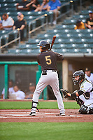 Thairo Estrada (5) of the Sacramento River Cats at bat against the Salt Lake Bees at Smith's Ballpark on August 16, 2021 in Salt Lake City, Utah. The Bees defeated the River Cats 6-0. (Stephen Smith/Four Seam Images)