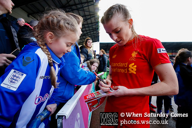 Liverpool Ladies 2 Everton Ladies 1, 19/03/2017. Select Security Stadium, SSE FA Cup Fifth Round. Liverpool's Kate Longhurst signing autographs after the game between Liverpool Ladies v Everton Ladies at The Select Security Stadium, Widnes, in the Women's SSE FA Cup Fifth Round. Photo by Paul Thompson.