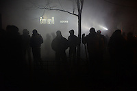 Rioters seen at night  during the  violent protest against new draconian law to ban protests across the country.  Kiev. Ukraine