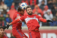 Bridgeview, IL - Saturday April 14, 2018: Jonathan Campbell, Alan Gordon during a regular season Major League Soccer (MLS) match between the Chicago Fire and the LA Galaxy at Toyota Park.  The LA Galaxy defeated the Chicago Fire by the score of 1-0.