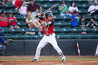 Dylan Moore (6) of the Hickory Crawdads at bat against the Lexington Legends at L.P. Frans Stadium on April 29, 2016 in Hickory, North Carolina.  The Crawdads defeated the Legends 6-2.  (Brian Westerholt/Four Seam Images)