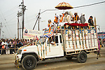 Procession of Sadhus (Holy Men) to take holy bath in Ganges River in Allahabad for Kumbh Mela Festival.