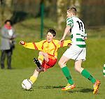 Cathal Darcy of Avenue United in action against 11 of Knocklyon FC during their SFAI game at Lisdoonvarna. Photograph by John Kelly.