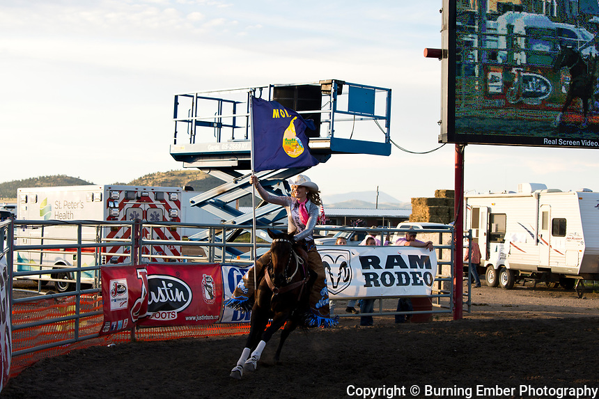Miss Rodeo New York, Noelle White at the Helena MT Last Chance Stampede 2nd perf July 26th 2019.  Photo by Josh Homer/Burning Ember Photography.  Photo credit must be given on all uses.