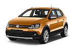 2015 Volkswagen Polo Cross 5 Door Hatchback 2WD Angular Front stock photos of front three quarter view