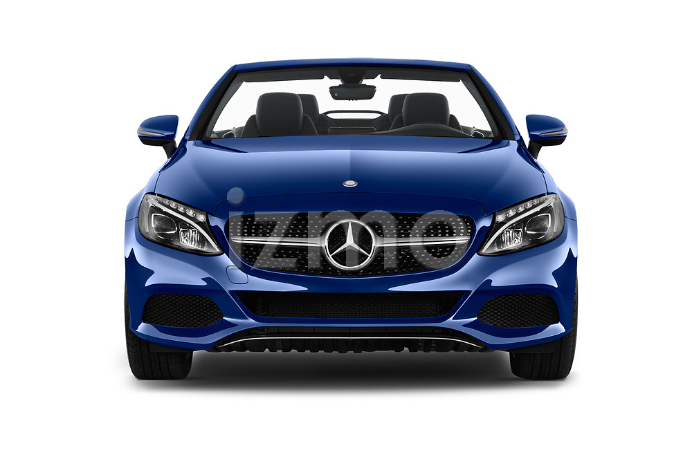 Car photography straight front view of a 2017 Mercedes Benz C-Class - 2 Door Convertible Front View