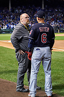 Cleveland Indians team photographer Dan Mendlik talks with Brandon Guyer (6) before Game 5 of the Major League Baseball World Series against the Chicago Cubs on October 30, 2016 at Wrigley Field in Chicago, Illinois.  (Mike Janes/Four Seam Images)