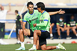Getafe CF's Enes Unal (l) and Jose Juan Macias during training session. August 26,2021.(ALTERPHOTOS/Acero)