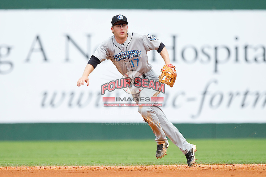 Second baseman Matt Antonelli #17 of the Syracuse Chiefs tracks a ground ball against the Charlotte Knights at Knights Stadium on June 19, 2011 in Fort Mill, South Carolina.  The Knights defeated the Chiefs 10-9.    (Brian Westerholt / Four Seam Images)