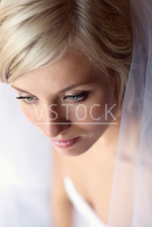 Bride wearing veil, close up