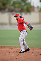 Boston Red Sox Santiago Espinal (10) throws to first base during a minor league Spring Training intrasquad game on March 31, 2017 at JetBlue Park in Fort Myers, Florida. (Mike Janes/Four Seam Images)