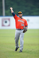 Kevin Martir (30) of the Greeneville Astros warms up in the outfield prior to the game against the Kingsport Mets at Hunter Wright Stadium on July 7, 2015 in Kingsport, Tennessee.  The Mets defeated the Astros 6-4. (Brian Westerholt/Four Seam Images)