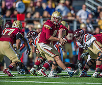 2 November 2013: Boston College Eagles quarterback Chase Rettig (11) takes a snap against the Virginia Tech Hokies during the first quarter at Alumni Stadium in Chestnut Hill, MA. Mandatory Credit: Ed Wolfstein-USA TODAY Sports *** RAW (NEF) Image File Available ***