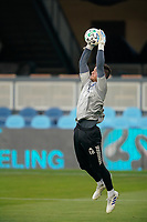 SAN JOSE, CA - SEPTEMBER 16: San Jose Earthquakes goalkeeper JT Marcinkowski #18 during warmups before a game between Portland Timbers and San Jose Earthquakes at Earthquakes Stadium on September 16, 2020 in San Jose, California.