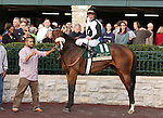 25 October 2009 The Rood and RIddle Dowager (Listed).Black Mamba and Robby Albarado in the winners circle after winning the Dowager.