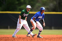U-Mass Boston Beacons Delvis Baez (15) leads off in front of Tom Rydzewski (24) during a game against the Farmingdale State Rams at North Charlotte Regional Park on March 19, 2015 in Port Charlotte, Florida.  U-Mass Boston defeated Farmingdale 9-5.  (Mike Janes/Four Seam Images)