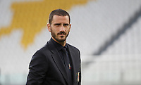 Italy's Leonardo Bonucci inspects the pitch of the Juventus Stadium, ahead of the FIFA World Cup 2018 qualification match against Spain, in Turin, 5 October 2016.<br /> <br /> <br /> UPDATE IMAGES PRESS/Isabella Bonotto