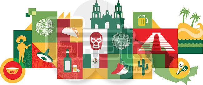 Illustrative collage of Mexico over white background