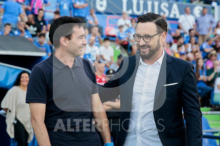 Coach Jose Bordalas of Getafe CF and Asier Garitano of Deportivo Alaves during La Liga match between Getafe CF and Deportivo Alaves at Colisseum Alfonso Perez in Getafe, Spain. August 31, 2019. (ALTERPHOTOS/A. Perez Meca)