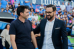 Coach Jose Bordalas of Getafe CF and Asier Garitano of Deportivo Alaves during La Liga match between Getafe CF and Deportivo Alaves at Colisseum Alfonso Perez in Getafe, Spain. August 31, 2019. (ALTERPHOTOS/A. Perez Meca)