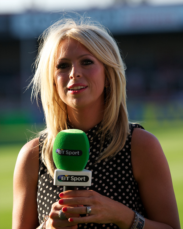 20130801 Copyright onEdition 2013 ©<br />Free for editorial use image, please credit: onEdition.<br /><br />BT Sport presenter, Sarra Elgin Easterby, during the J.P. Morgan Asset Management Premiership Rugby 7s Series.<br /><br />The J.P. Morgan Asset Management Premiership Rugby 7s Series kicks off for the fourth season on Thursday 1st August with Pool A at Kingsholm, Gloucester with Pool B being played at Franklin's Gardens, Northampton on Friday 2nd August, Pool C at Allianz Park, Saracens home ground, on Saturday 3rd August and the Final being played at The Recreation Ground, Bath on Friday 9th August. The innovative tournament, which involves all 12 Premiership Rugby clubs, offers a fantastic platform for some of the country's finest young athletes to be exposed to the excitement, pressures and skills required to compete at an elite level.<br /><br />The 12 Premiership Rugby clubs are divided into three groups for the tournament, with the winner and runner up of each regional event going through to the Final. There are six games each evening, with each match consisting of two 7 minute halves with a 2 minute break at half time.<br /><br />For additional images please go to: http://www.w-w-i.com/jp_morgan_premiership_sevens/<br /><br />For press contacts contact: Beth Begg at brandRapport on D: +44 (0)20 7932 5813 M: +44 (0)7900 88231 E: BBegg@brand-rapport.com<br /><br />If you require a higher resolution image or you have any other onEdition photographic enquiries, please contact onEdition on 0845 900 2 900 or email info@onEdition.com<br />This image is copyright the onEdition 2013©.<br /><br />This image has been supplied by onEdition and must be credited onEdition. The author is asserting his full Moral rights in relation to the publication of this image. Rights for onward transmission of any image or file is not granted or implied. Changing or deleting Copyright information is illegal as specified in the Copyright, Design and Patents Act 1988. If you are in 