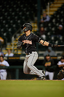 Jupiter Hammerheads Micah Brown (5) bats during a Florida State League game against the Bradenton Marauders on April 19, 2019 at LECOM Park in Bradenton, Florida.  Bradenton defeated Jupiter 7-1.  (Mike Janes/Four Seam Images)