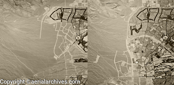 aerial map view real estate development comparison Summerlin, Las Vegas, Nevada 1994 and 1999