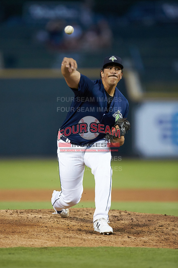 Columbia Fireflies starting pitcher Alec Kisena (36) delivers a pitch to the plate against the Rome Braves at Segra Park on May 13, 2019 in Columbia, South Carolina. The Fireflies defeated the Braves 6-1 in game two of a doubleheader. (Brian Westerholt/Four Seam Images)