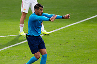 CARSON, CA - APRIL 25: Referee Victor Rivas giving orders during a game between New York Red Bulls and Los Angeles Galaxy at Dignity Health Sports Park on April 25, 2021 in Carson, California.