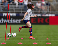 EAST HARTFORD, CT - JULY 5: Rose Lavelle #16 of the USWNT warms up during a game between Mexico and USWNT at Rentschler Field on July 5, 2021 in East Hartford, Connecticut.