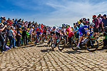 Peloton with Niki TERPSTRA from the Netherlands of Quick-Step Floors at the 4 star cobblestone sector 26 from Fontaine-au-Tertre to Quievy during the 2018 Paris-Roubaix race, France, 8 April 2018, Photo by Thomas van Bracht / PelotonPhotos.com | All photos usage must carry mandatory copyright credit (Peloton Photos | Thomas van Bracht)