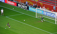 Marta (l) shots a penalty against Andreia of team Brazil at a training session during the FIFA Women's World Cup at the FIFA Stadium in Dresden, Germany on July 9th, 2011.