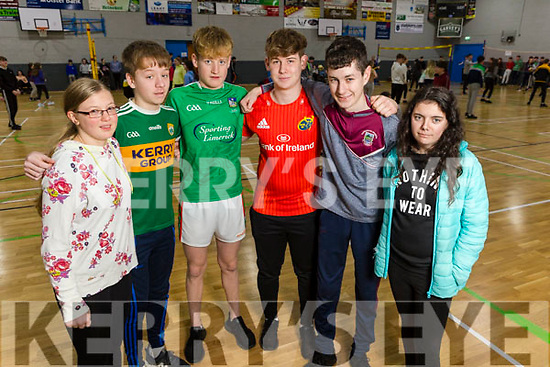 Coláiste na Sceilige students Stacy Pickard, Jack O'Connor, Jack Clifford, Adam Casey, Padraig O'Connor and Roisin Carroll at the ETB Spikeball Blitz in the Tralee Sports Complex on Tuesday.